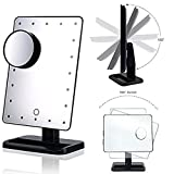 [UPDATED VERSION]Natural Light Touch Screen 22 LED Lighted Vanity Mirror 180 Degree Free Rotation LED Makeup Mirror with Removable 10x Magnifying Spot Mirror,Bathroom Tabletop Mirror 1x/10x ,Black