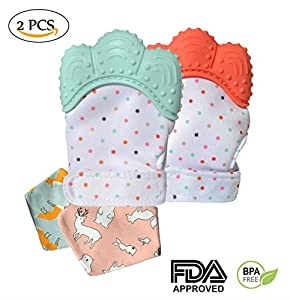 Teething Mittens Soothing Gloves & Toys Mitts for Infants with Baby Bandana Drool Bibs, Boy and Girl, Food Grade & BPA free, one size, Pain relief and Massage Teether (2 pack)
