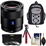 Sony Alpha E-Mount Sonnar T FE 55mm f/1.8 ZA Lens with Backpack + 3 Filters + Flex Tripod Kit for A7, A7R, A7S Mark II III, A9, A6300, A6500 Cameras