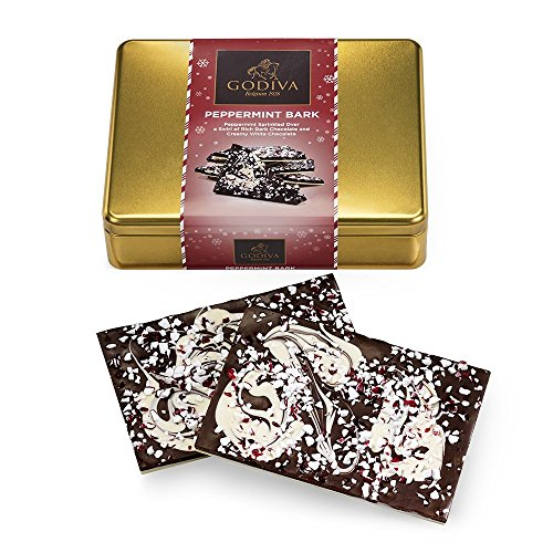 Godiva Chocolatier Peppermint Bark Tin, Great for Christmas Party Hostess Gift ()