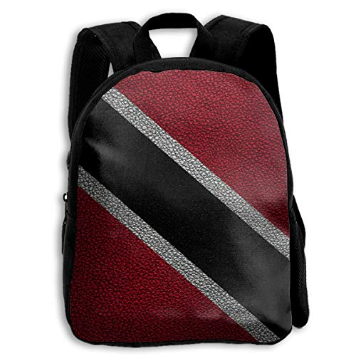 (Leather Pattern Trinidad Flag South America 3D Children Multi-function Mini Bag Pocket Zipper Casual Outdoor Travel Book Middle School Backpack)