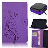 """Pershoo Galaxy Tab 4 10.1"""" Case, PU Leather Flip Folio Stand Magnetic Closure Wallet Case With [Card Slot] Butterfly Tree Embossing Process Ultra Slim TPU Inner Shell Back Case Protective Cover for Samsung Galaxy SM-T530 T531 T535 + [Earphone Case] - Purple"""