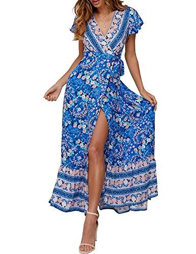 - Womens Summer Dresses Casual Print Split wrap Beach Maxi Dresses Blue