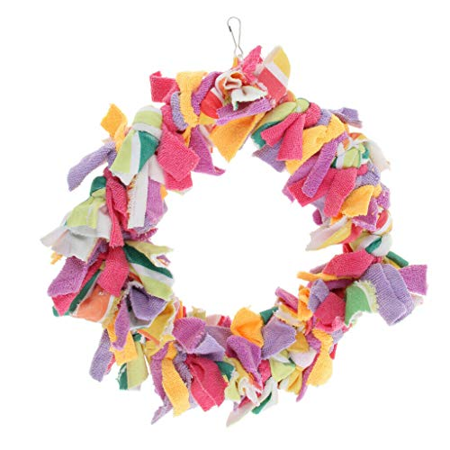(Agordo Bird Parrot Cloth Circle Swings Bird Chewing Cage Toy Colorful)