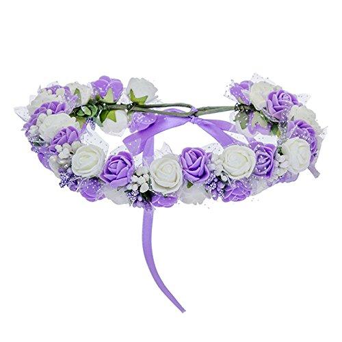 Women Bezel Flowers On Head Girls Flower Crown Wreath Wedding Bridal Hair Accessories Double Foam Rose Floral Headband Purple Childs Bezel