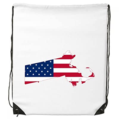 70%OFF The United States Of America USA Massachusetts Map Stars And Stripes Flag Shape Drawstring Backpack Shopping Sports Bags Gift