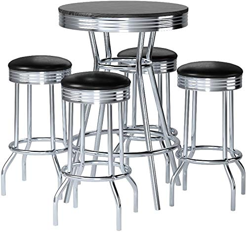 5pc Black Wood Bar Table & Commercial Restaurant Chrome Black Swivel Barstool Set 29'' by The Furniture Cove