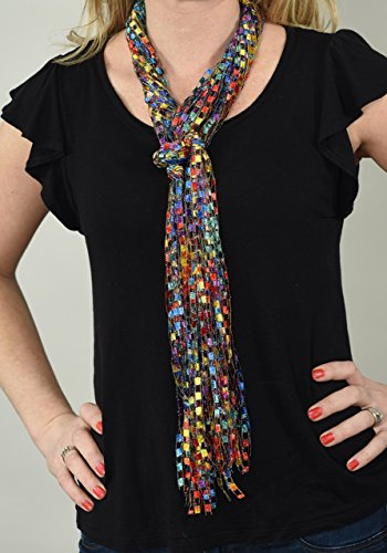 Unique Gift CROCHETLACES Lightweight Handmade Ribbon Yarn Cascading Falls Scarf- Rainbow