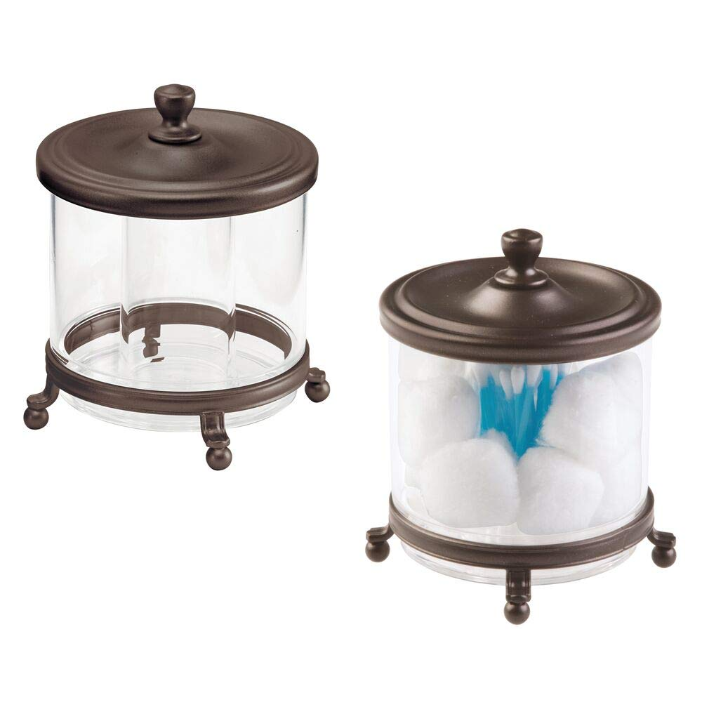mDesign Round Bathroom Vanity Countertop Divided Storage Canister Plastic Jar with Metal Lid for Cotton Swabs, Rounds, Balls, Makeup Sponges, Blenders, Bath Salts, 2 Pack - Clear/Bronze