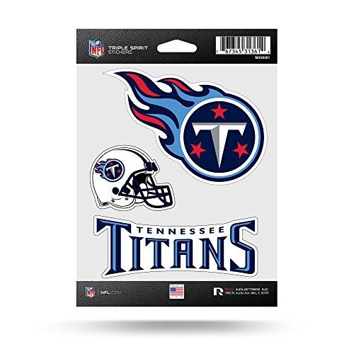 Rico NFL Tennessee Titans Die Cut 3-Piece Triple Spirit Sticker Sheet (Tennessee Nfl Titans Decal)