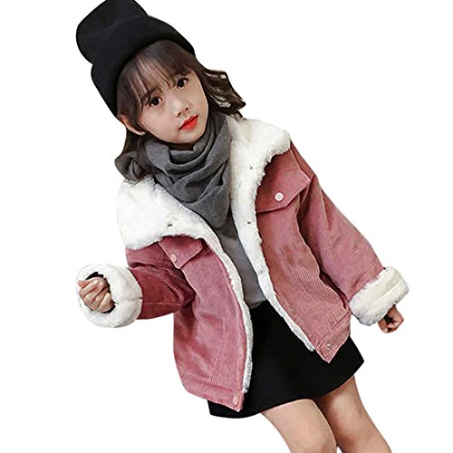 Moonper Baby Girls Jacket Winter Thick Single Breasted Outwear Corduroy Long Sleeve Coat (6T(5-6years), ()