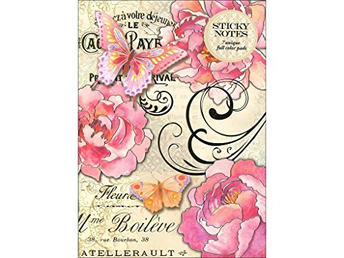 (Punch Studio Portfolio Peony Butterfl Sticky Notes Pad PeonyBfly)