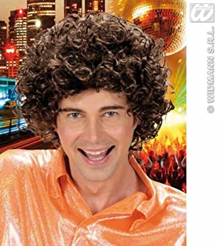 Brown Curly Perm Hair Man Wig Retro 70s Amazon Co Uk Toys Games