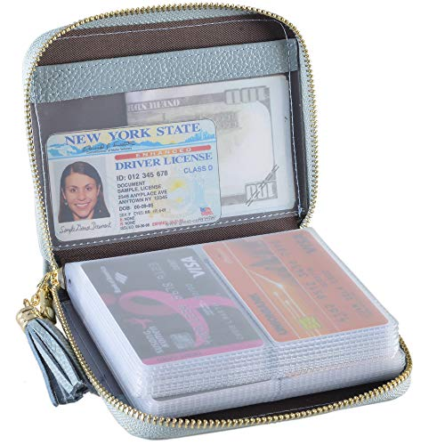 Easyoulife Womens Credit Card Holder Wallet Zip Leather Card Case RFID Blocking (Light Blue)