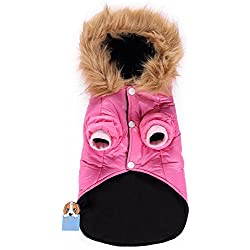 TAONMEISU Pet Dog Windbreaker Waterproof Warm Keeping Coat Hooded Design Cold Winter Jacket for Small Dogs Cats (Rosy S)