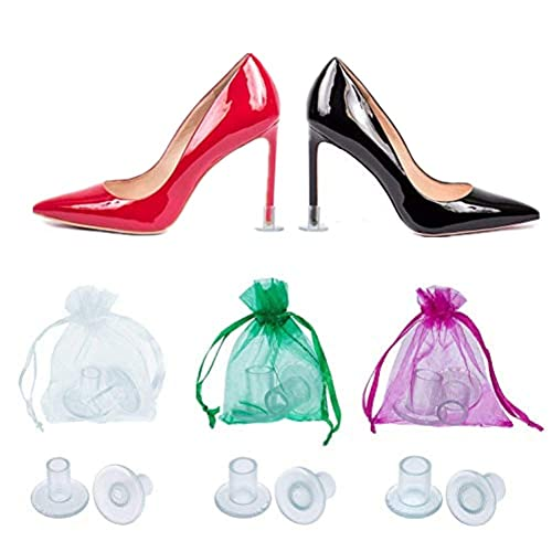 ce60a0163fd 12 Pairs Transparent High Heel Protectors,Heel Stoppers,Heel Repair Caps  Covers for Women-Perfect for Weddings, Races, Formal Occasions - Protecting  ...