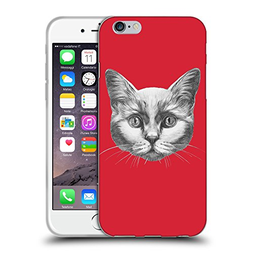 GoGoMobile Coque de Protection TPU Silicone Case pour // Q05110601 Dessin chat Alizarine // Apple iPhone 6 4.7""