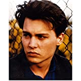 Johnny Depp 8x10 Photo 21 Jump Street Blue Shirt Tweed Blazer Head Shot in Front of Fence kn