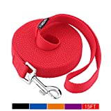 Siumouhoi Dog/Puppy Obedience Recall Training Agility Lead-15 ft 20 ft 30 ft 40 ft 50 ft Long Leash -for Training Leash, Play, Safety, Camping,or Backyard (15Feet, Red)