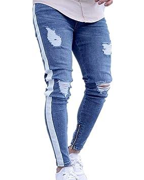 Guiran Hombre Vaqueros Skinny Pantalones Elasticos Rotos ...