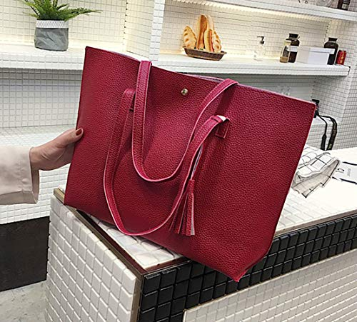 10 31cm with Buckle Handbag Capacity Red Tassel 44 x Women Ladies Bag Large Light EDLUX Leather for Korean PU Shoulder with Grey Magnetic Bag x w8qxZHvAx