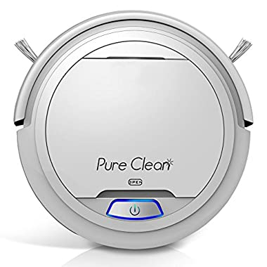 PureClean Upgraded Automatic Robot Vacuum Cleaner - Robotic Auto Home Cleaning for Clean Carpet Hardwood Floor - Bot Self Detects Stairs - HEPA Filter Pet Hair Allergies Friendly - PUCRC25 V2 (White)