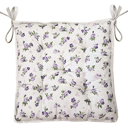 - Provence Soft Cotton Chair Cushion in French Country Style, 15'' x 15'', Lilac Rose