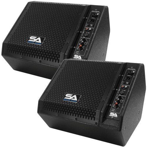 Seismic Audio - SAX-10M-PW-Pair - Pair of Powered Compact 10 Inch 2 Way Coaxial Floor / Stage Monitors with Titanium Horns - 200 Watts RMS - PA/DJ Stage, Studio, Live Sound