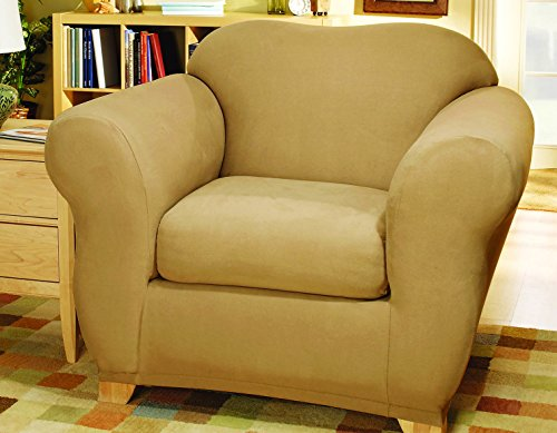 SureFit Stretch Suede Bench Seat - Chair Slipcover  - Camel (SF35548) ()