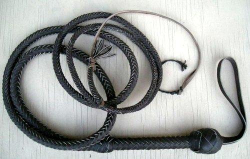 10 Foot 12 Plait BLACK Bullwhip Real Leather BULLWHIP BULL