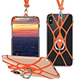 SHANSHUI Phone Lanyard, Universal Smartphone Cover Silicone Case Holder with Kickstand Hand Ring Stand Grip Detachable Neck Strap Lanyard Compatible with iPhone and Most Smartphones (Orange)