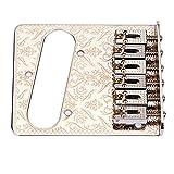 WINOMO Chrome 6 String Saddle Bridge Plate for Fender Electric Guitar Flower Pattern B-32