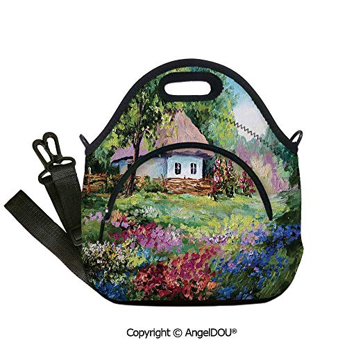 - AngelDOU Rustic Lunch Bag with Adjustable Shoulder Strap Artistic Stone House and Small Garden With Wooden Fence Colorful Spring Flowers for women Portable Insulated lunch box ba12.6x12.6x6.3(inch)