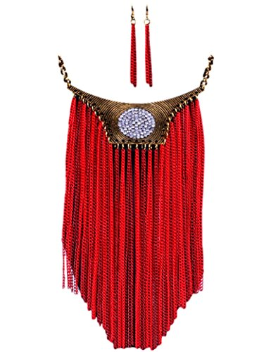 Chain Fringe Earrings - Ethnic Bohemian Long Red Chains Fringe Festival Bib Statement Collar Necklace & Earrings Set by Pashal