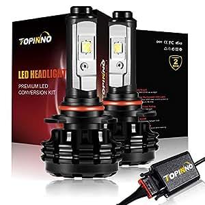 TOPINNO LED Headlight Bulbs Conversion Kit, Extremely Bright CREE XHP50 10000LM, 9005(HB3) - 6000K Xenon White Headlight Assembly