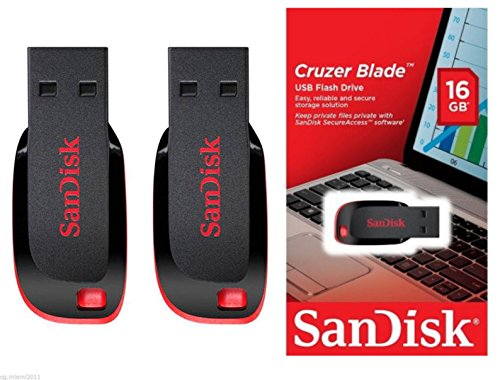 SanDisk Cruzer Blade 16  GB USB Plastic Pen Drive   Pack of 3  Black and Red