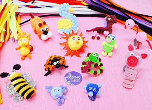 Asian Hobby Crafts Pom Pom Crafts Kit with 50pcs Pipe Cleaners,100pcs goggly Eyes and 50pcs Pompoms for DIY School Projects, Decorations & Scrapbooking