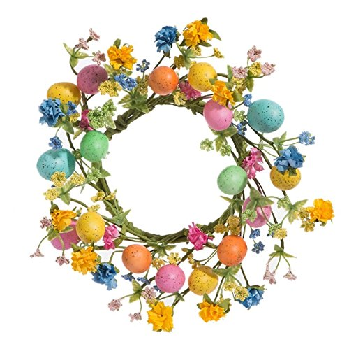 "12"" Wildflower Easter Egg Wreath Candle Ring Fits 4"" Pillar Candle for Indoor Spring Table Top Decor"