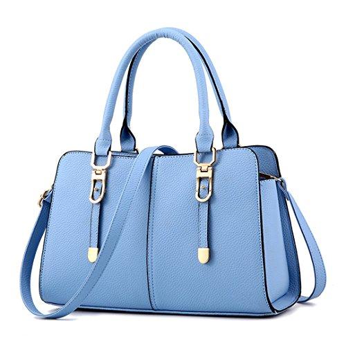 Wewod 2016 nuevas mujeres bolso bandolera de cuero superior de la PU de hombro ocasional del bolso del bolso del mensajero del monedero 31 x 20 x 14 cm (L*H*W) Azur