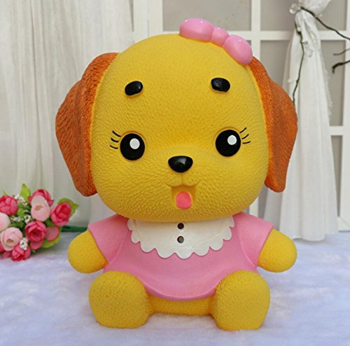 Tuersuer Desktop Decor Money Box Dress Puppy Piggy Bank Home Decoration Birthday Gift Pink Clothes Yellow Dog