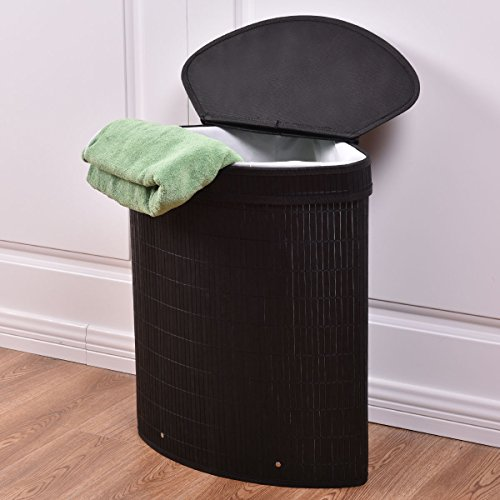 Triangle Bamboo Hamper Laundry Basket Washing Cloth Storage Bin Bag W/Lid Black
