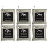 6-Pack Activated Bamboo Deodorizer Bags, 200g Natural Odor Eliminators, Charcoal Grey-Colored Air Purifying Bags with Hooks, Scent Absorber, Eco-friendly Odor Neutralizer for Home, Car, Shoes and more