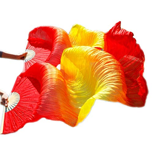1 Pair 180cmx90cm Light Belly Dance Silk Fan Veil Red Yellow Red (Red Yellow Red) ()