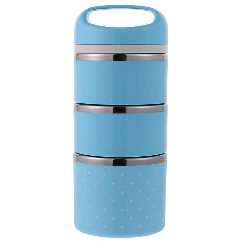 Portable 3-layer lunch box stainless steel insulated lunch box lunch box kitchen cutlery bowl picnic food container (Color : Blue)