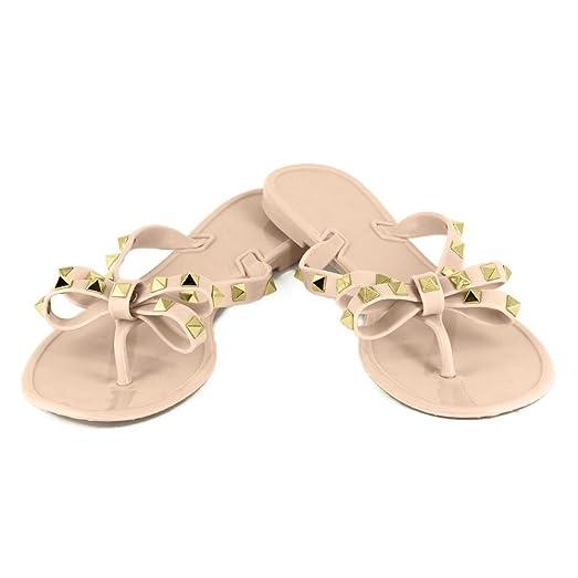 Women's Flip-Flops Sandals - Fashion Rivet Thong Sandals Summer Beach Slippers Flat Shoes