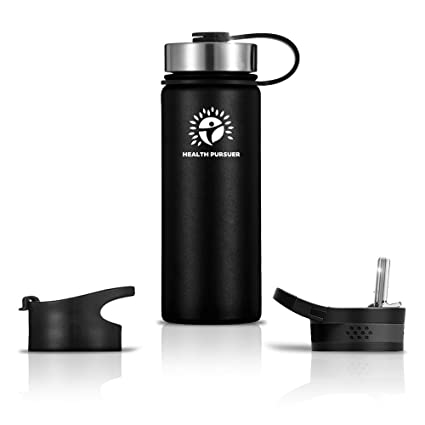 Stainless Steel Water Bottle Thermos 18 Oz Double Walled Vacuum Insulated Wide Mouth