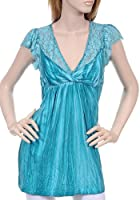 Sexy Blue Turquoise Romantic Lace Layer Babydoll Blouse