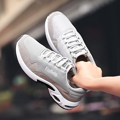 VEMOW Running Shoes for Men, Sneakers Trainers Lace-up Flats Flip Flops Thongs Espadrilles Wedge Sports Gym Outdoor Walking Dance Air Hiking Workout, Cross Tied Ventilation Gray