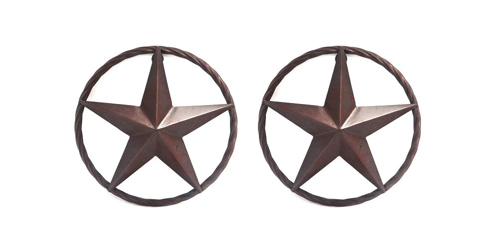 """Metal 8¼"""" Star with Rope, Set of 2"""