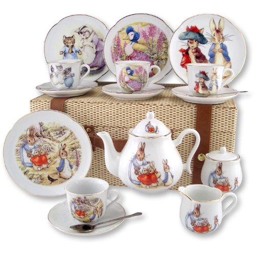 Beatrix Potter 15 pc Large Tea Set w Peter Rabbit by Reutter Porcelain Dishwasher Safe